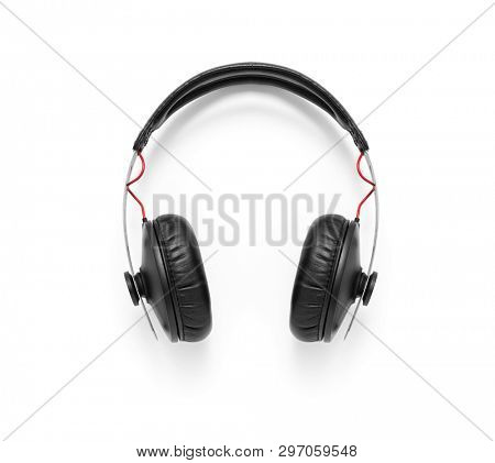Over-Ear Headphones, Black leather on white background