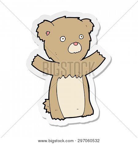 sticker of a cartoon teddy bear