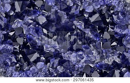 macro photo of blue sapphire druse