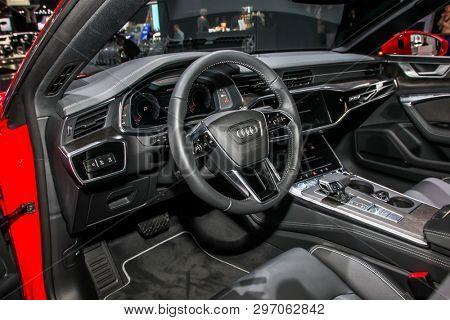 NEW YORK, NY, USA - APRIL 17, 2019: Audi 7 quatro at the New York International Auto Show 2019, at the Jacob Javits Center. This was Press Preview Day One of NYIAS