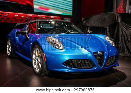 NEW YORK, NY, USA - APRIL 17, 2019: Alfa Romeo 4C Spider at the New York International Auto Show 2019, at the Jacob Javits Center. This was Press Preview Day One of NYIAS