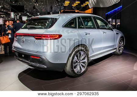 NEW YORK, NY, USA - APRIL 17, 2019: Mercedes-Benz EQC 400 at the New York International Auto Show 2019, at the Jacob Javits Center. This was Press Preview Day One of NYIAS