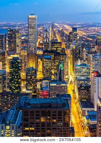 Aerial view of Chicago Skylines building at Chicago downtown in Chicago City Illinois USA. Looking to the south of Chicago.