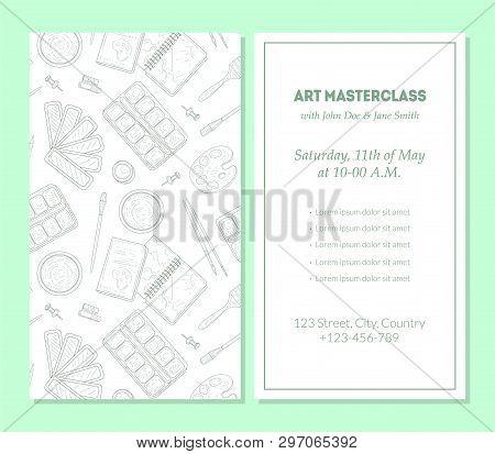 Art Masterclass Banner Template, Painter Tools, Art Supplies With Text Hand Drawn Vector Illustratio