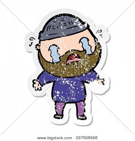 distressed sticker of a cartoon bearded man crying