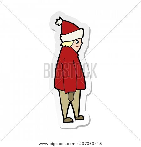 sticker of a cartoon person in winter clothes