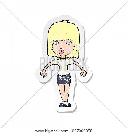 retro distressed sticker of a cartoon woman shrugging shoulders