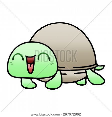 gradient shaded quirky cartoon turtle