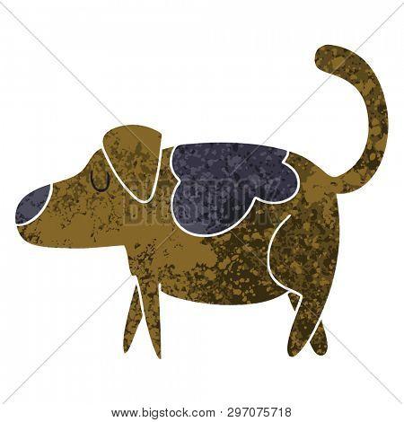 retro illustration style quirky cartoon dog