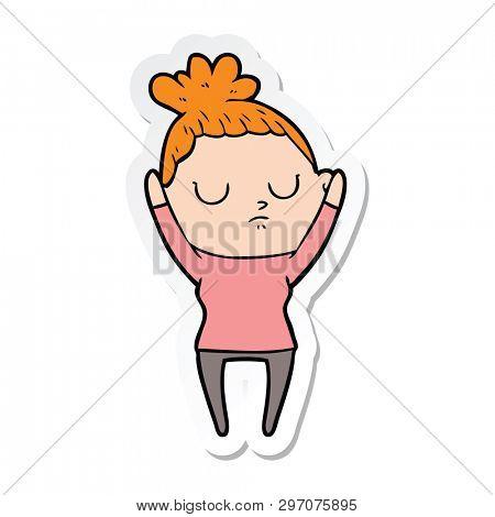 sticker of a cartoon calm woman
