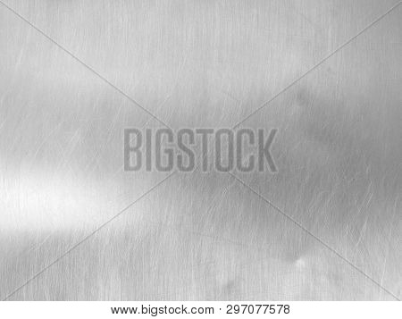 Shiny And Reflective Surface Of Gray Metal Sheet, Close Up Silver Stainless Steel Plate Texture With