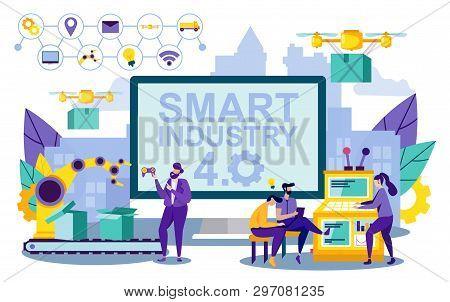 Vector Illustration Smart Lettering Industry 4.0. Inscription On Screen. Men And Women Run Productio