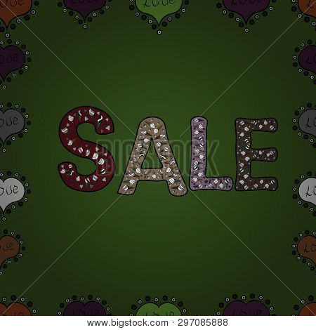 Summer Sale Banner Design. Hand Drawn Text On Bright Colorful Background. Seamless Pattern. Vector A