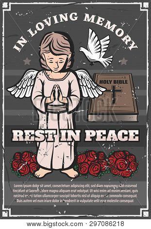 Funeral Service Agency Vintage Grunge Poster. Vector Angel With Prayer Hands, Doves And Mortuary And