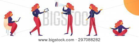 Vector Illustration Lifestyle And Stress Woman. Woman Is Tense Because Her Busy List Tasks. Constant