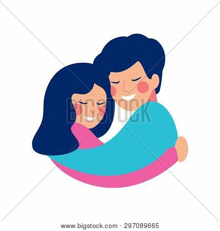 Brother And Sister Embrace With Love And Smile At Each Other. Happy Siblings Day Vector Greeting Car