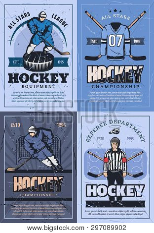 Ice Hockey Sport Vintage Posters Or Players Team, Outfit And Equipment. Vector Ice Hockey Puck And S