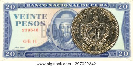 3 Cuban Peso Coin Against 20 Cuban Peso Banknote