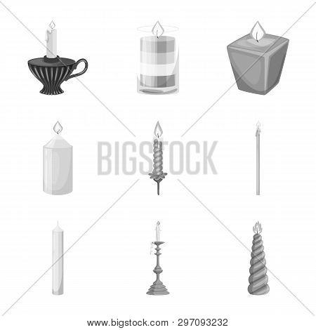 Vector Illustration Of Paraffin And Fire  Sign. Set Of Paraffin And Decoration    Vector Icon For St