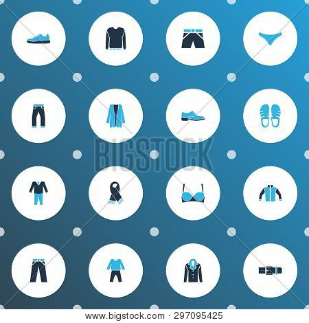 Clothes Icons Colored Set With Cardigan, Trousers, Shorts And Other Slippers Elements. Isolated Vect
