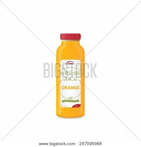 Realistic Bottle Of Juice Mockup. Product Template. Label And Glass Bottle. Illustration Of Glass Of