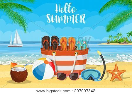 Sun, Sparkling Ocean And Palms. Tropical Background With Beach Bag, Flip-flops, Sunglasses, Starfish