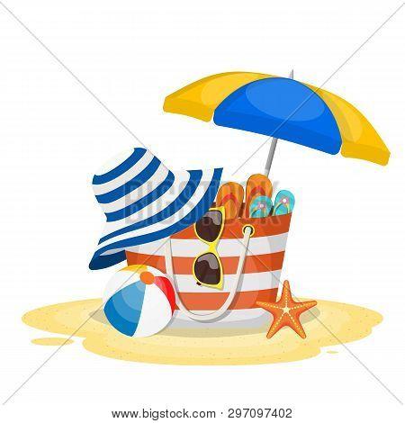 Summer Accessories For The Beach. Bag, Sunglasses, Flip Flops, Starfish, Ball, Umbrella . Vector Ill