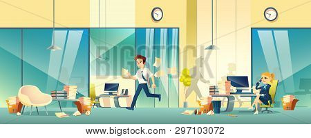Chaos In Company Office Cartoon Vector With Hurrying, Busy Business People, Scattered Documents And
