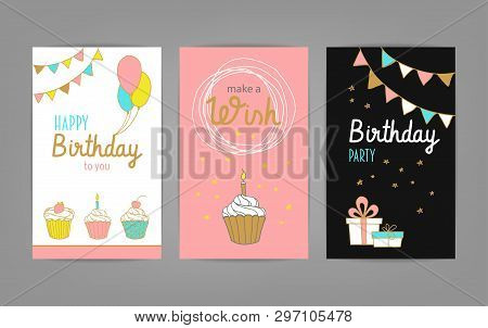 Happy Birthday Greeting And Invitation Cards Set With Cakes, Flags, Candles, Stars And Balloons. Vec