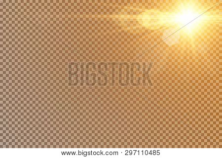 Vector transparent sunlight special lens flash light effect.front sun lens flash. Vector blur in the light of radiance. Element of decor. Horizontal stellar rays and searchlight. poster