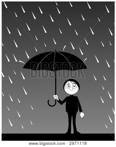 Man With Umbrella Under Rain