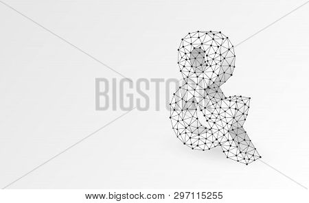 Ampersand Sign. Programming Logical Operator And. Wedding Invitation Symbol. Abstract, Digital, Wire