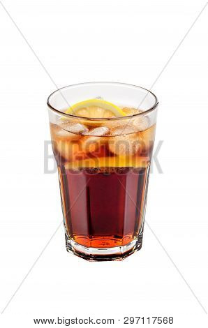 Coca drink with ice and lemon on a white isolated background. poster