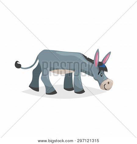 Cute Cartoon Donkey Finding Fresh Grass. Farm Animal. Vector Illustration For Education Or Comic Nee