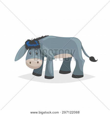 Cute Cartoon Donkey. Sad Domestic Farm Animal. Vector Illustration For Education Or Comic Needs. Vec