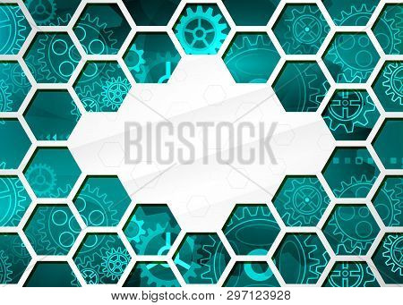 Abstract Technology Background With Hexagons And Gear Wheels, Hi-tech Elements. Cybernetic Circuit B