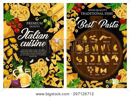 Italian Cuisine Pasta Menu, Traditional Italy Restaurant. Vector Fusilli, Fettuccine Or Linguine, Co