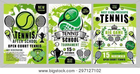 Tennis Sport Vector Green Halftone Posters. Tennis School Training, Team Club Tournament Or League B