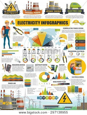 Energy And Electricity Infographic Charts And Diagrams. Vector Power Station Statistics, Eco Energy