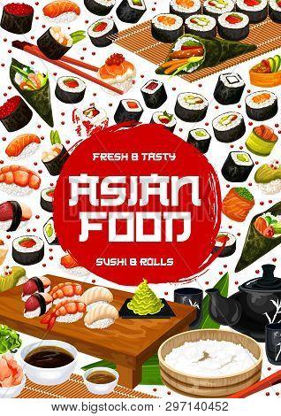 Japanese Sushi Bar Menu Cover, Asian Cuisine Restaurant Poster. Vector Chopsticks, Sushi And Maki Ro