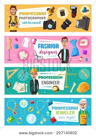 Fashion Designer, Photographer, Construction Engineer And Jeweler Professions Banners. Vector Cartoo