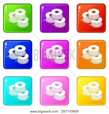 Coil For D Printer Icons Set 9 Color Collection Isolated On White For Any Design