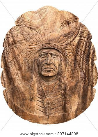 My sculpture and my handmade, not the place. Apache, Red indian head Carved with wood, isolated on white background. Closeup Apache, Red indian head Carved with wood, isolated on white background. poster