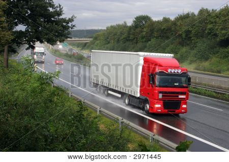 Truck On A German Highway