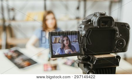 Beauty Fashion Trends Vlog. Business Lifestyle. Young Woman Recording Video Tutorial Content. Digita