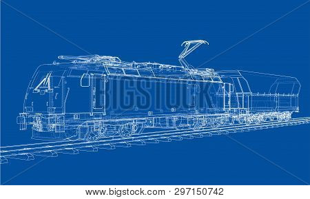 Modern Train Concept. Vector Rendering Of 3d. Wire-frame Style
