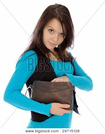 Girl Looking Into Purse.