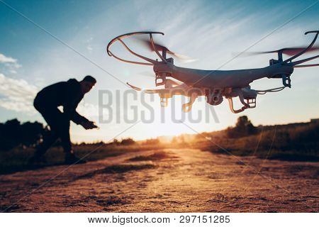 Drone Trends And Innovations. Modern Hobby And Leisure. Closeup Of Camera Quadcopter Controlled Remo