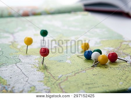 big topographic map with colored needles pushpins poster