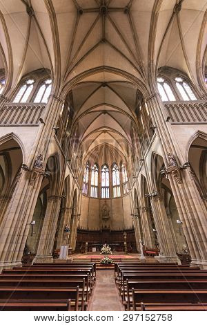 San Sebastian, Spain - October 17: Inside Of Buen Pastor Cathedral On October 127, 2016 In San Sebas